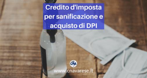 Credito d'imposta per sanificazione e acquisto di DPI