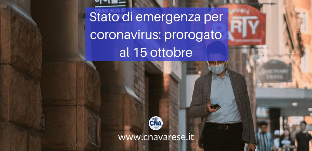 prorogato lo stato di emergenza per coronavirus