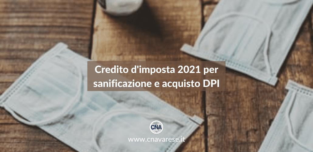 Credito d'imposta 2021 sanificazione e DPI