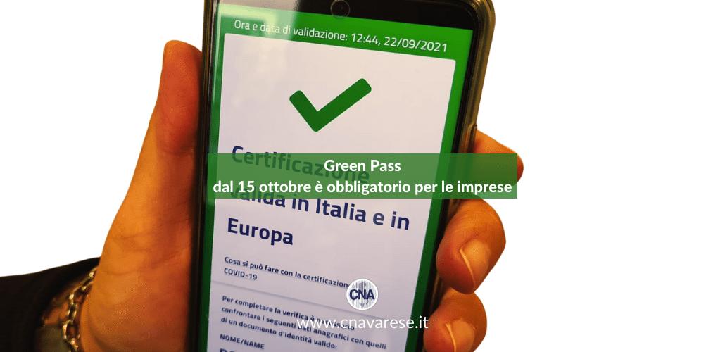 Green Pass dal 15 ottobre è obbligatorio per le imprese